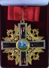 Крест ордена Святого Александра Невского по образцу к. XVIII в. Вариант 2 (с хрусталём Swarovski)