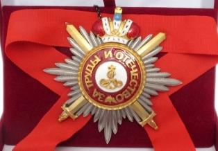 Звезда ордена Святого Александра Невского лучевая (с мечами,с короной)