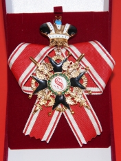 Крест ордена Святого Станислава 1 ст. (с мечами, с короной,чёрной эмали)