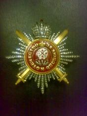Звезда ордена Святой Екатерины Лучевая с мечами, короной, (с хрусталем)